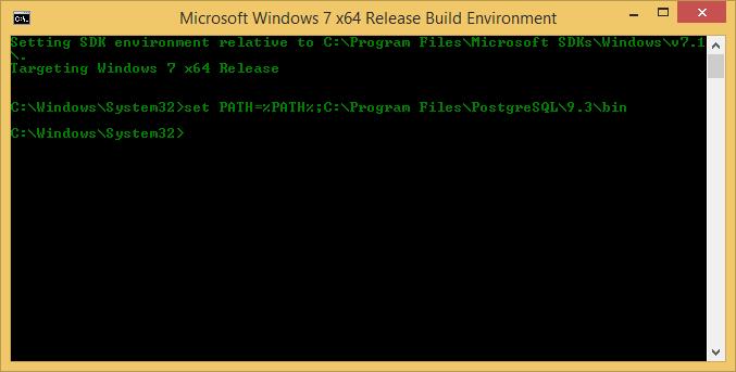 Python3 building psycopg2 cmd prompt